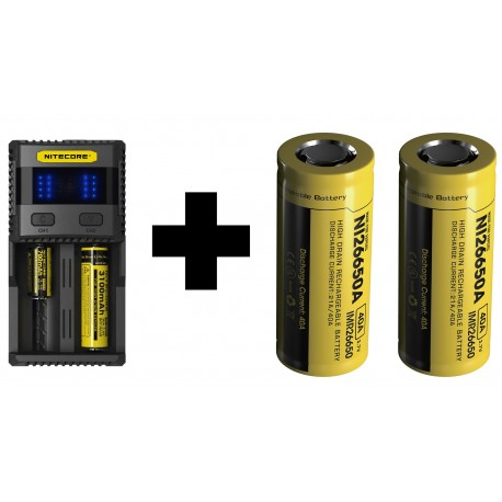UK Nitecore SC2 3A 2016 Li-ion/IMR/LiFePO4/Ni-MH Battery Charger + 2x Nitecore 26650