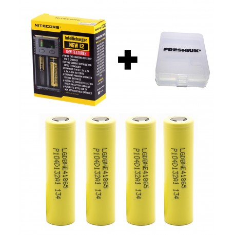 UK Nitecore New i2 2017 Intellicharge Battery Charger + 4x LG HE4 2500mAh Batteries