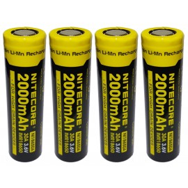 4x Nitecore 18650 30A 2000mAh High Drain IMR Li-Mn 3.6v Rechargeable Battery