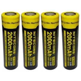 4x Nitecore 18650 30A 2000mAh High Drain IMR Li-Mn 3.6v Rechargeable Battery