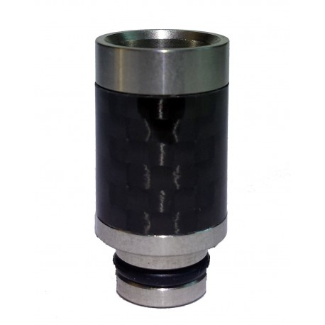 Carbon Fiber Hybrid Wide Bore 510 Drip Tip - Stainless Base Carbon Weave Walls