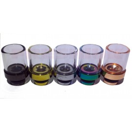 Pyrex Glass and Aluminium Hybrid Wide Bore 510 Drip Tip - 5 Different Colours
