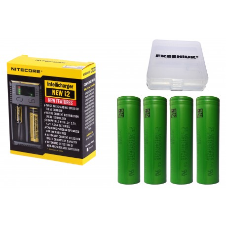 UK Nitecore New i2 2016 Intellicharge Battery Charger + 4x Sony VTC4 Batteries