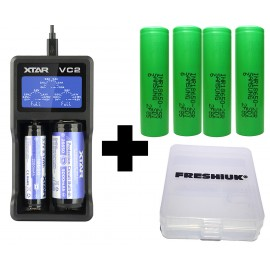 XTAR VC2 USB Li-Ion Ni-MH Battery LCD Charger + 4x Samsung 25R