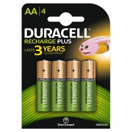 4 x Duracell AA Rechargeable Batteries - 1300mAh PRE/ STAY CHARGE NiMH HR6