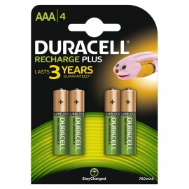 4 x Duracell AAA Rechargeable Batteries - 750mAh PRE/ STAY CHARGE NiMH HR3