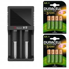 BrilliPower X2 2A - Intelligent Dual Battery Charger + 8 x Duracell Plus AA NiMH Batteries
