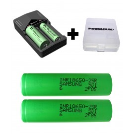 2x GENUINE Samsung 18650 Battery 25R 2500mAh 20/35A High Drain Vape Mod+ Charger