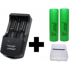 2 Samsung 2500mAh 25R 18650 Batteries+ UK LiitoKala Engineer S-260 Charger