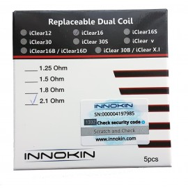 Genuine Innokin iClear 16 Replacement Coils 2.1ohm - 5 Pack Scratchcode