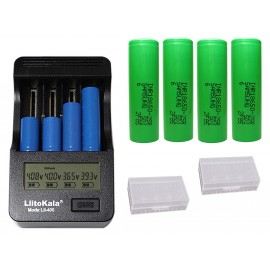 4 x Samsung 25R + LiitoKala Lii-400 UK Model 18650 Vape Battery Charger