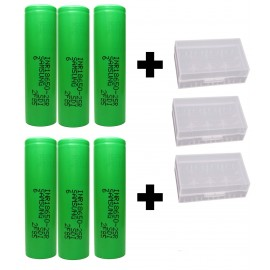 6 Pack Genuine Samsung 25R 2500mAh 20A High Drain 18650 3.7v INR Batteries
