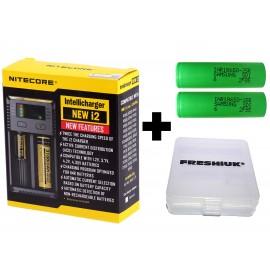 UK Nitecore New i2 2019 18650 26650 Vape Battery Charger + 2x Samsung INR 25R