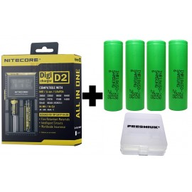 Nitecore D2 EU Digital 18650 Vape Battery Charger + 4x Samsung 25R INR Batteries