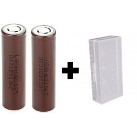 2x Genuine LG HG2 20a 3000mAh 3.7v IMR High Drain 18650 Batteries + Case