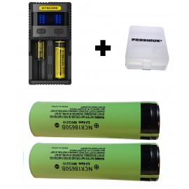 2x Panasonic 3400mAh + UK Nitecore SC2 3A 2017 18650 Battery Charger