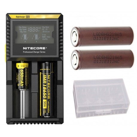 Nitecore D2 EU Dual Digital 18650 26650 20700 Vape Battery Charger + 2x LG  HG2 3000mAh 18650 High Drain IMR Batteries in Case