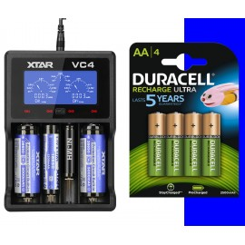 4X Duracell Ultra AA 2500mAh + XTAR VC4 LCD Screen USB Battery Charger