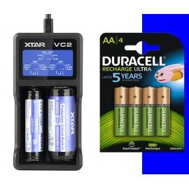 4x Duracell Ultra AA 2500mAh + XTAR VC2 USB Li-Ion LCD 18650 Battery Charger
