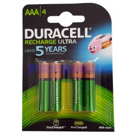 Duracell Ultra AAA Rechargeable Batteries NiMH 900mAh PreCharged HR03 Duralock