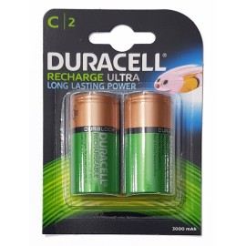 Duracell Ultra C NiMH 3000mAh PreCharged HR14 Duralock Rechargeable Batteries