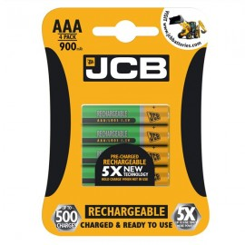 4 Pack JCB AAA 900mAh HR3 NiMH Pre-Charged Rechargeable Batteries