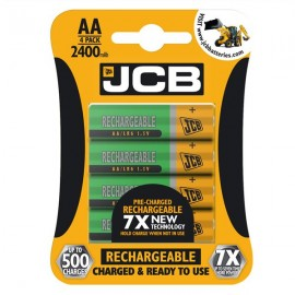 4 Pack JCB AA 2400mAh HR6 NiMH Pre-Charged Rechargeable Batteries