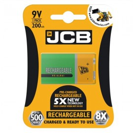 JCB 9V 200mAh PP3 NiMH Pre-Charged Rechargeable Batteries