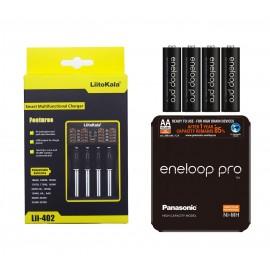 4x Eneloop Pro 2500mAh AA + LiitoKala Lii-402 18650 26650 USB Battery Charger