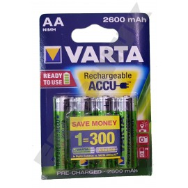 4x VARTA AA 2600 mAh Rechargeable Pre-Charged NiMH Batteries HR6