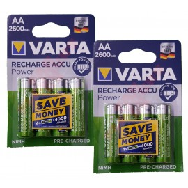8x VARTA AA 2600 mAh Rechargeable Pre-Charged NiMH Batteries HR6