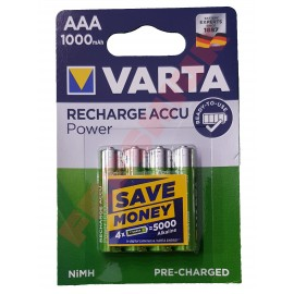 4x VARTA AAA 1000 mAh Rechargeable Pre-Charged NiMH Batteries HR03