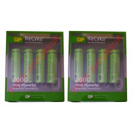 8 Pack GP ReCyko+ Rechargeable 2600mAh NiMH AA 1.2v Batteries