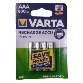 4x VARTA AAA 800 mAh Rechargeable Pre-Charged NiMH Batteries HR3