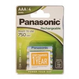 4x AA HR6 Panasonic Rechargeable 750mAh NiMH Batteries