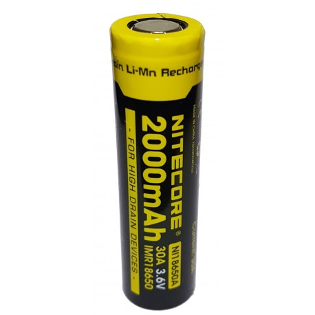 Nitecore NI18650A 30A 2000mAh High Drain IMR Li-Mn 3.6v Rechargeable Battery